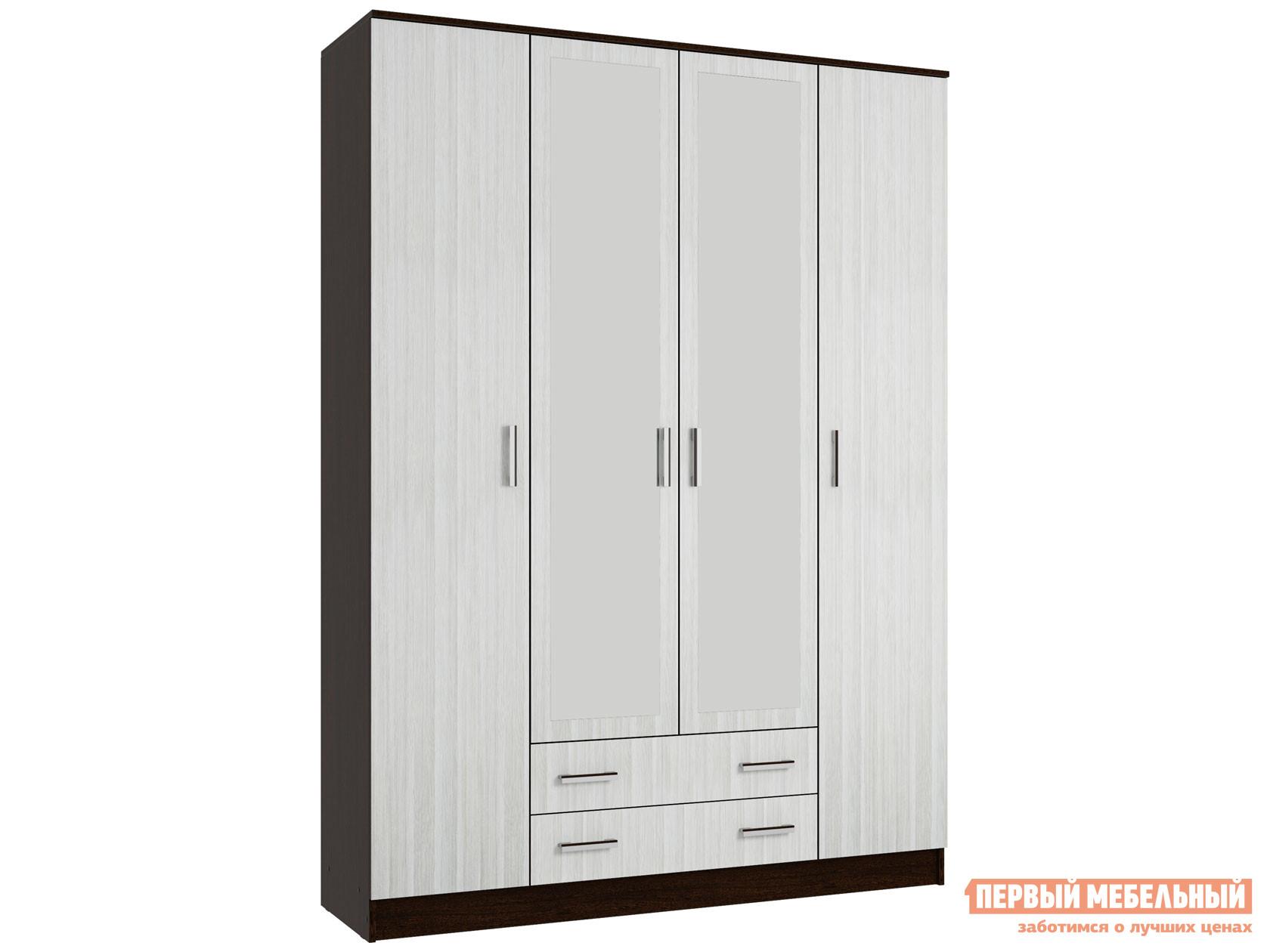 Распашной шкаф  4-х створчатый с зеркалом Эко Венге / Лоредо Эра 107954
