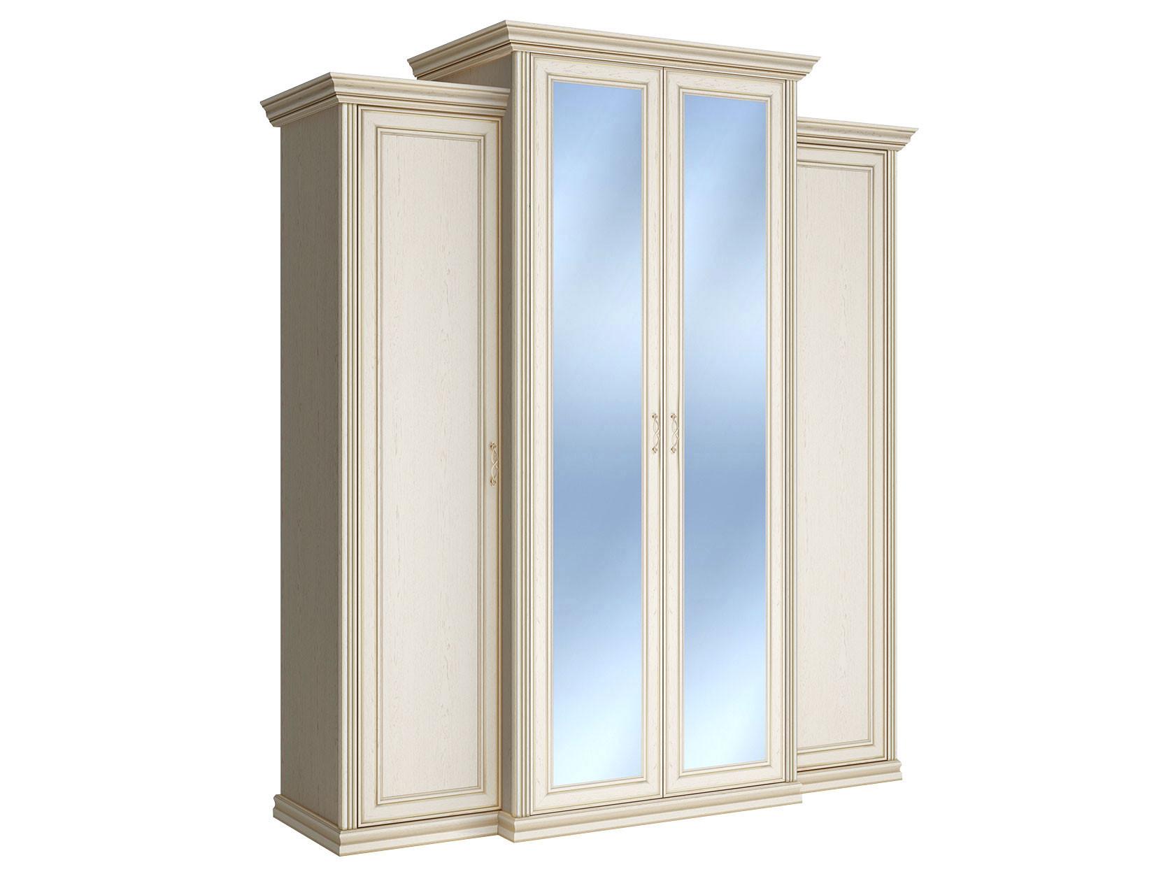 Шкаф распашной Первый Мебельный Шкаф 4-х дверный с пеналами и зеркалами Венето недорого