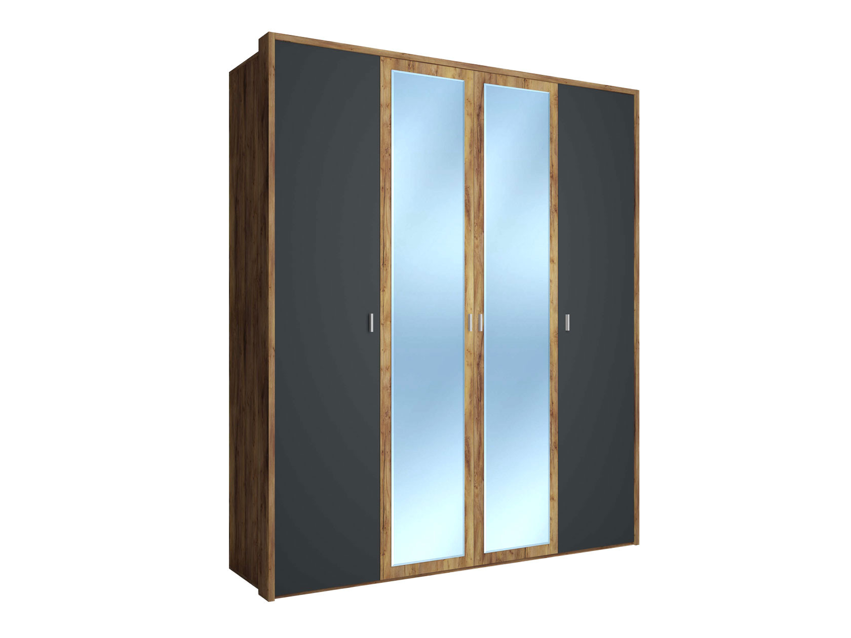 Распашной шкаф  4-х дверный Вега Бавария Таксония медовая / Антрацит, С двумя зеркалами, топом-накладкой КУРАЖ 104987