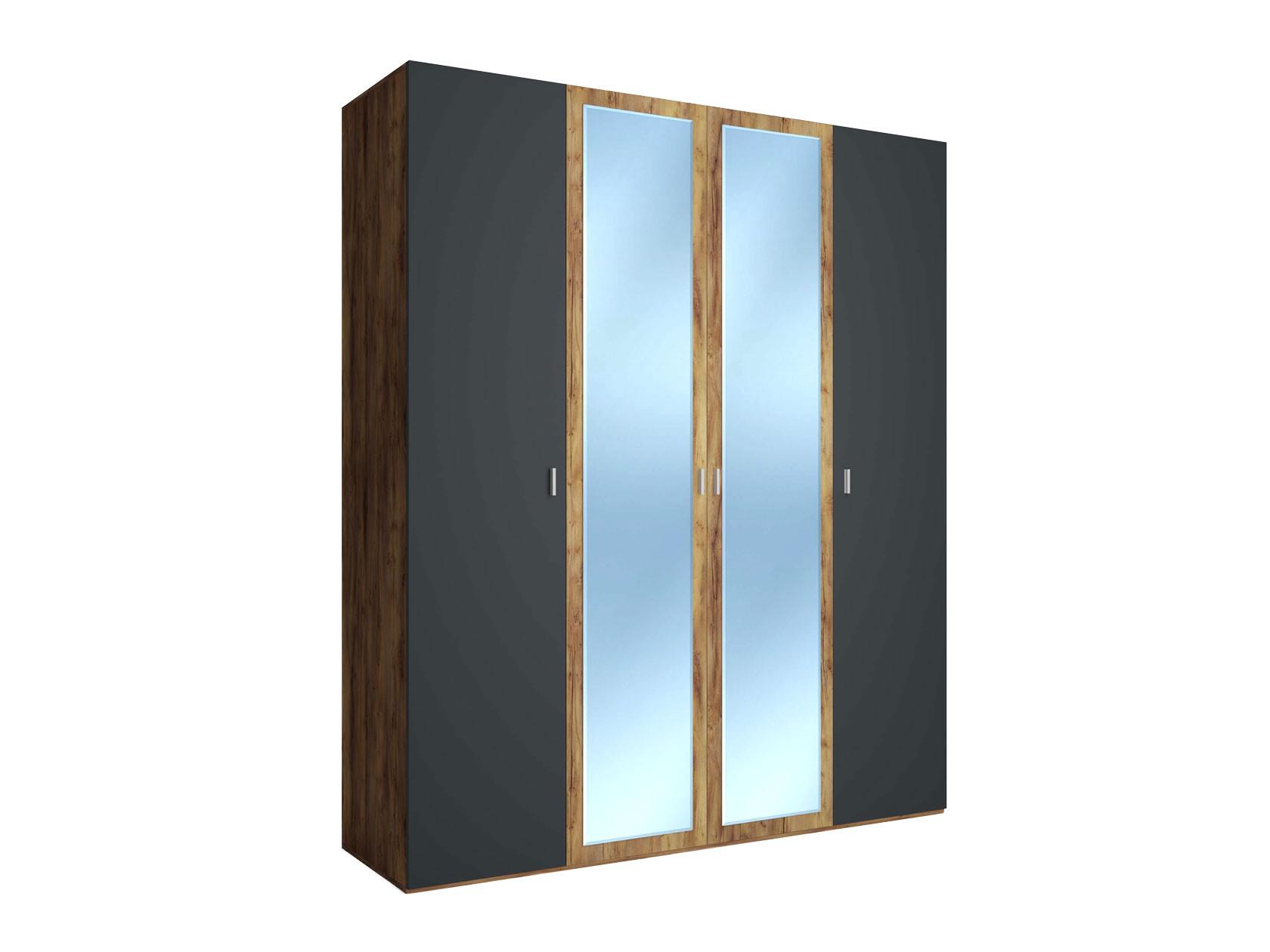 Распашной шкаф  4-х дверный Вега Бавария Таксония медовая / Антрацит, С двумя зеркалами, Без топа-накладки КУРАЖ 104986