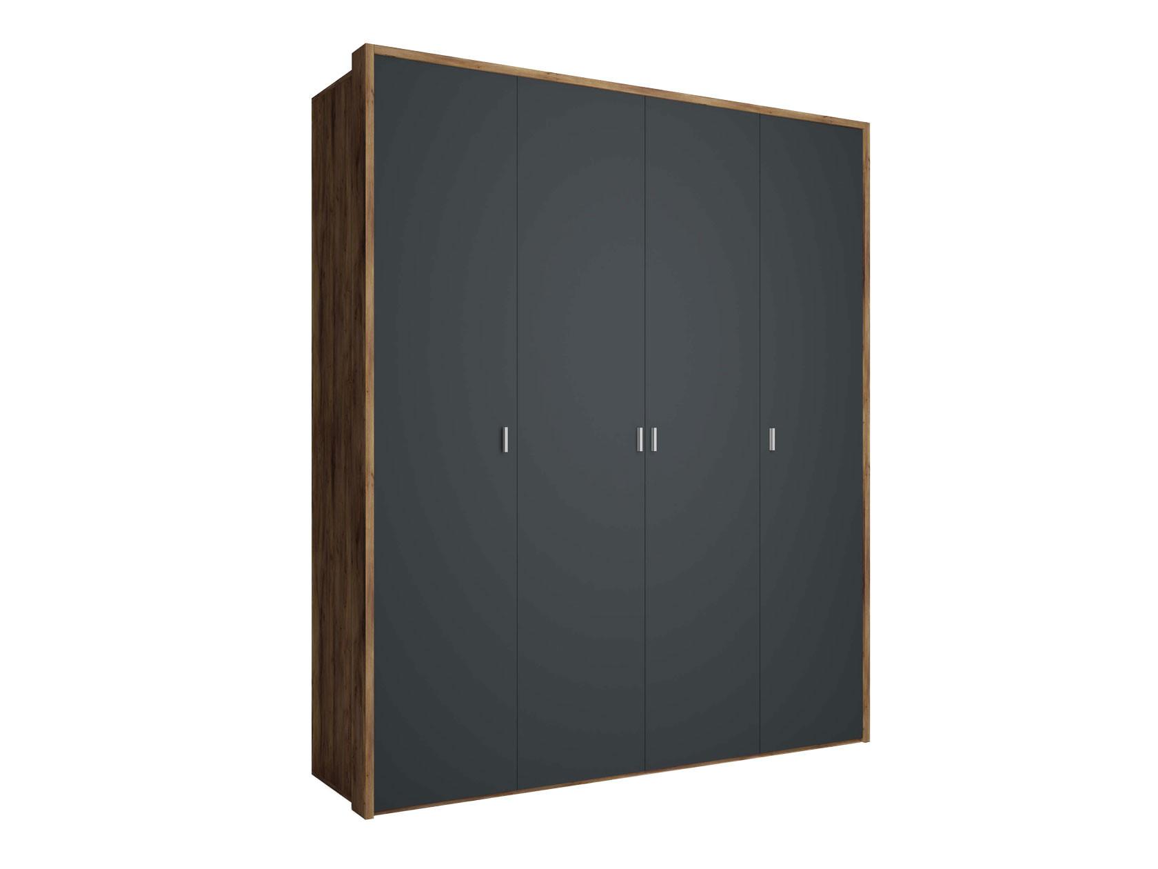 Распашной шкаф  4-х дверный Вега Бавария Антрацит, Без зеркала, С топом-накладкой КУРАЖ 104983