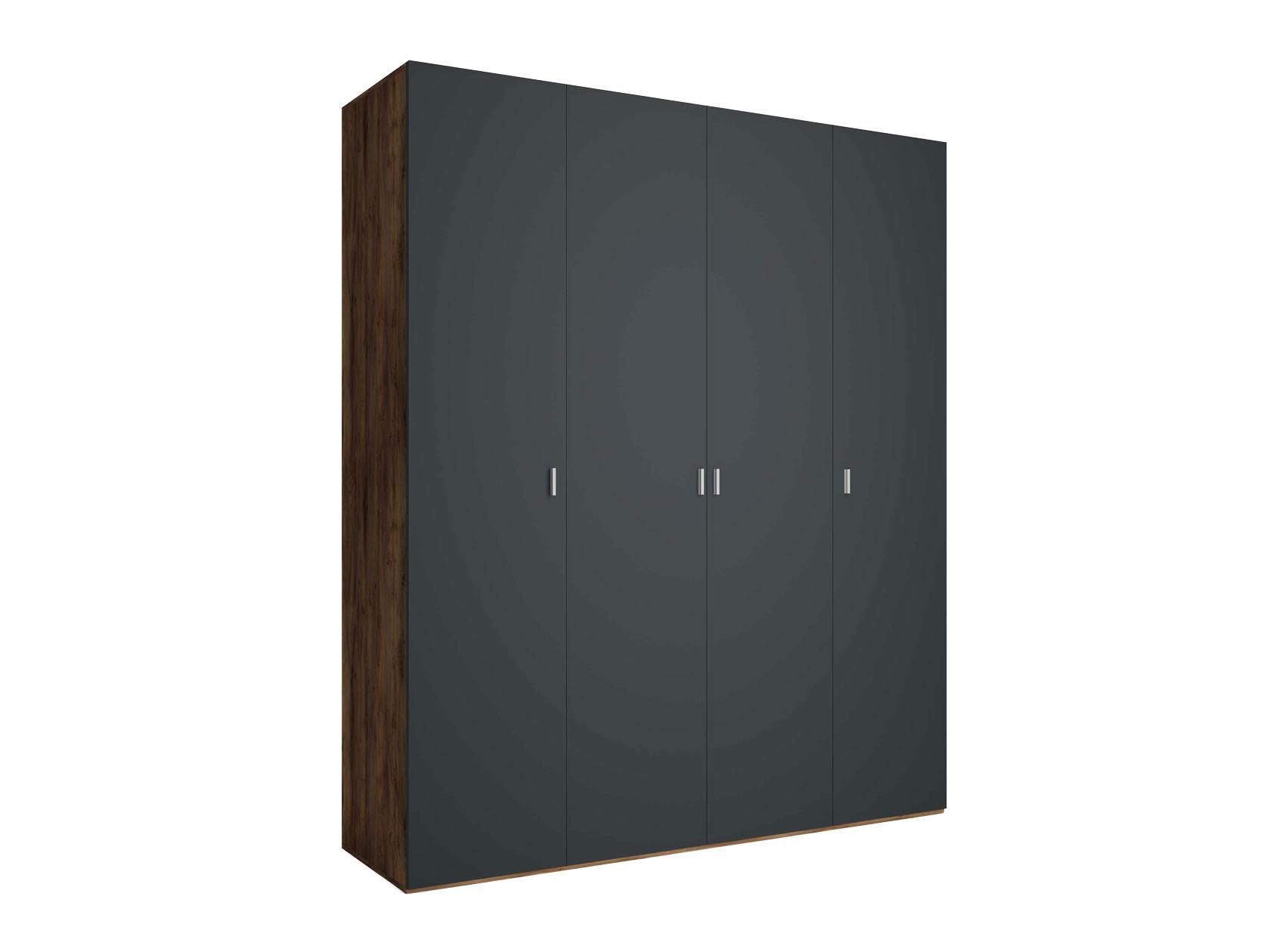 Распашной шкаф  4-х дверный Вега Бавария Антрацит, Без зеркала, топа-накладки КУРАЖ 104982