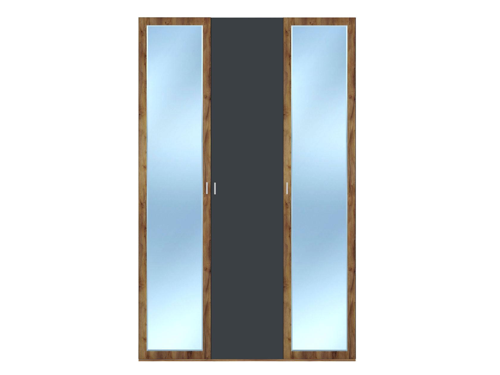 Распашной шкаф  3-х дверный Вега Бавария Таксония медовая / Антрацит, С двумя зеркалами, Без топа-накладки КУРАЖ 104974