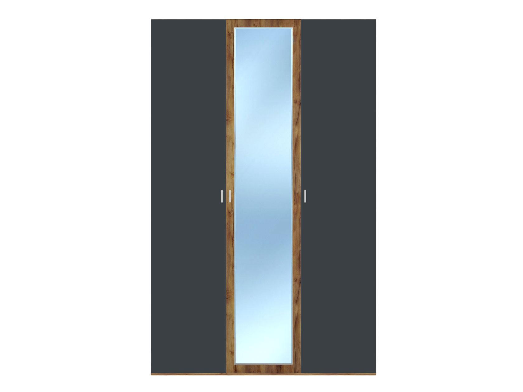 Распашной шкаф  3-х дверный Вега Бавария Таксония медовая / Антрацит, С одним зеркалом, Без топа-накладки КУРАЖ 104972