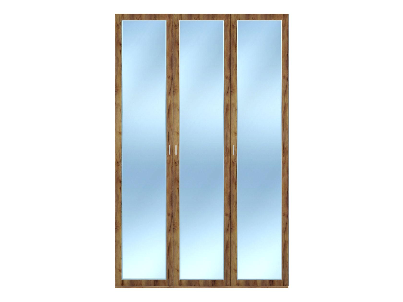 Распашной шкаф  3-х дверный Вега Бавария Таксония медовая, С тремя зеркалами, Без топа-накладки КУРАЖ 104970