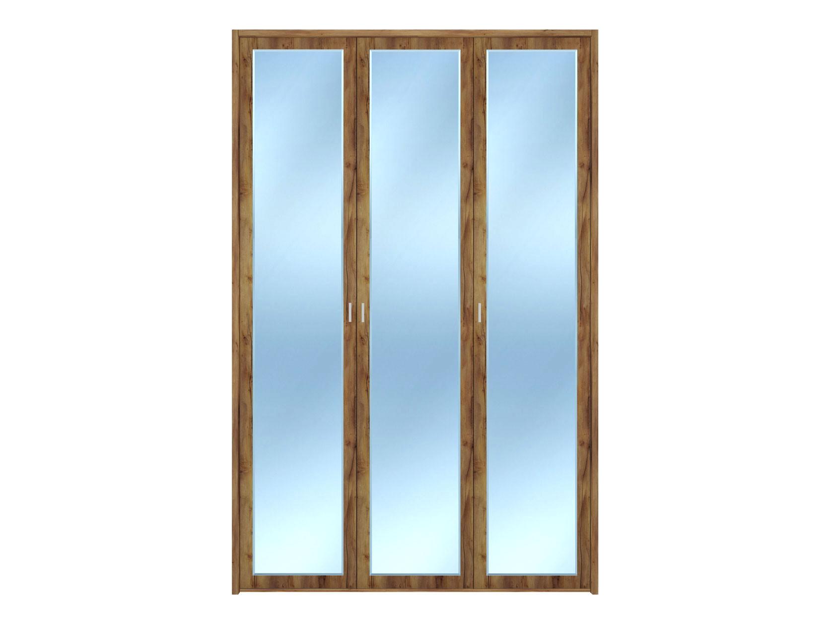 Распашной шкаф  3-х дверный Вега Бавария Таксония медовая, С тремя зеркалами, топом-накладкой КУРАЖ 104971