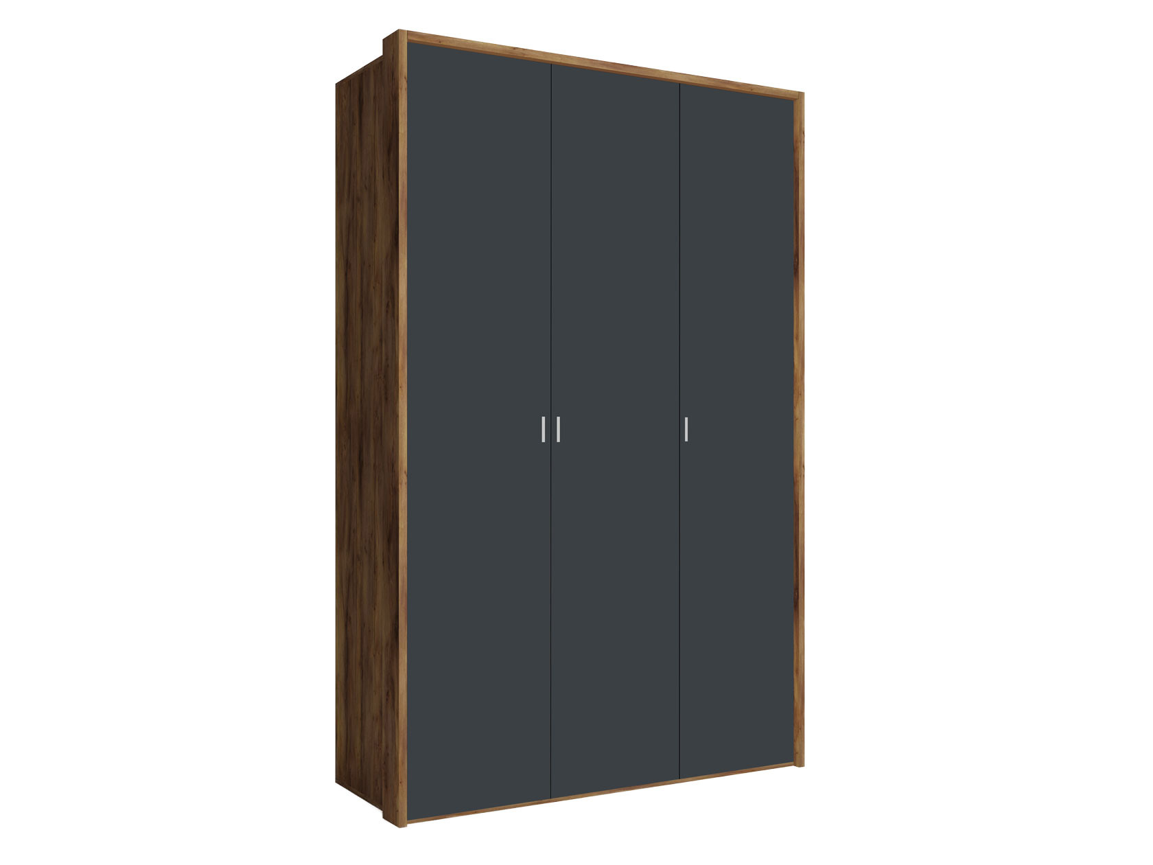 Распашной шкаф  3-х дверный Вега Бавария Таксония медовая / Антрацит, Без зеркала, С топом-накладкой КУРАЖ 104969