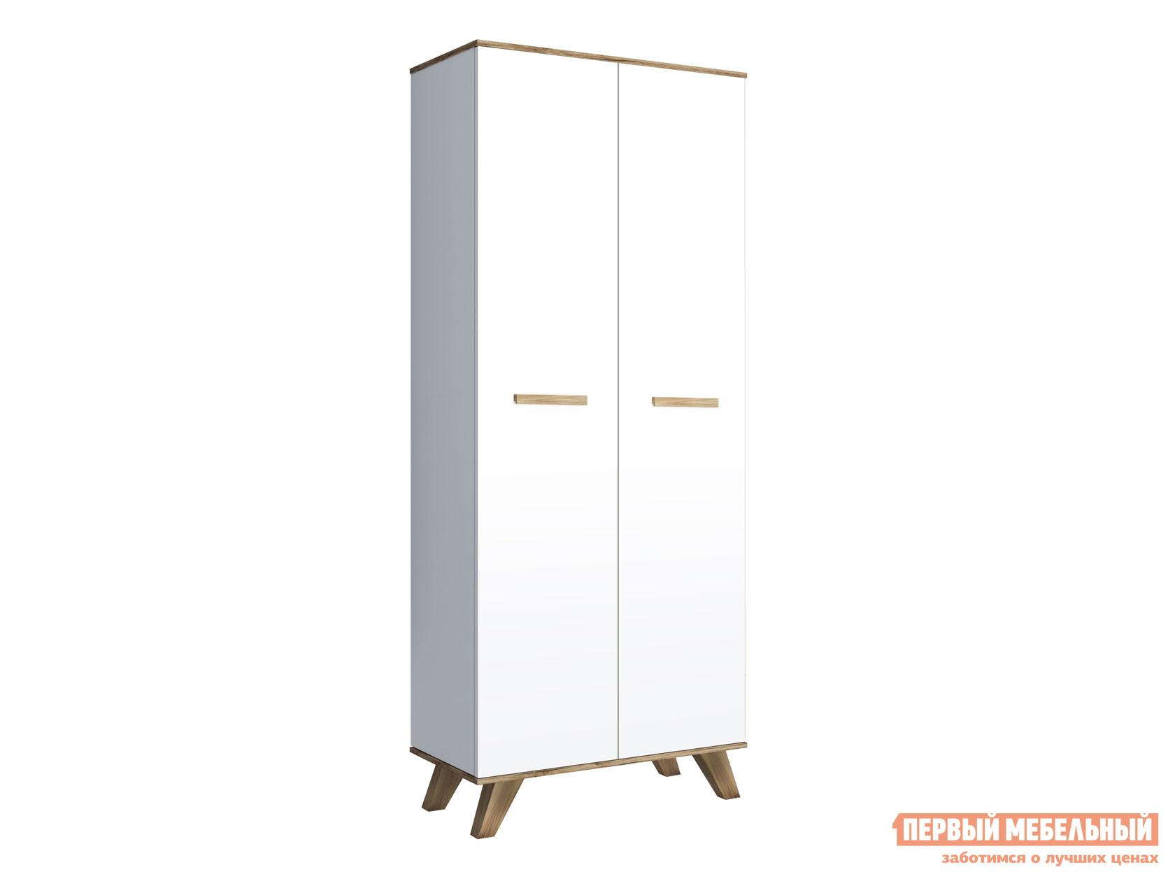 Распашной шкаф  для одежды 800 Вега Скандинавия Дуб каньон / Белый глянец КУРАЖ 117730