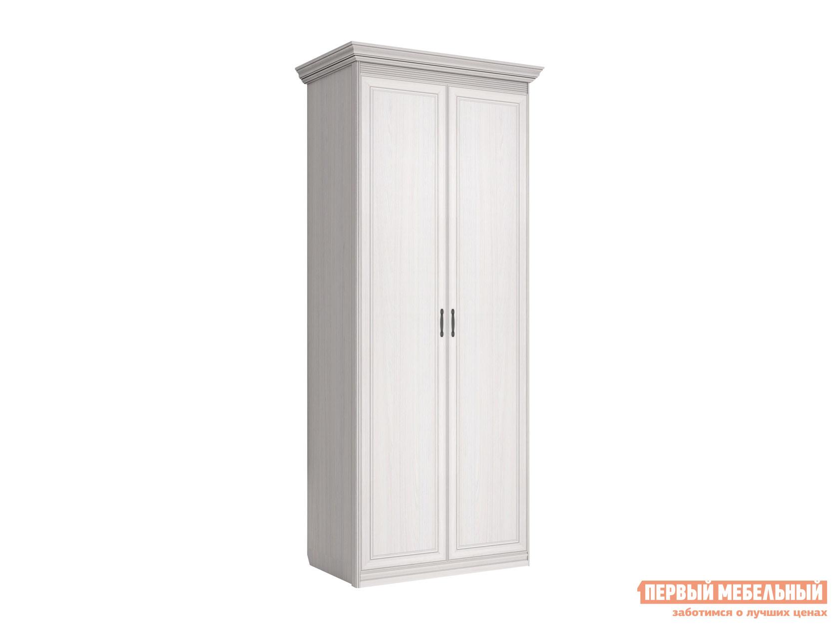 Распашной шкаф  2-х дверный Неаполь Ясень Анкор светлый / Патина серебро, Без зеркала КУРАЖ 114669