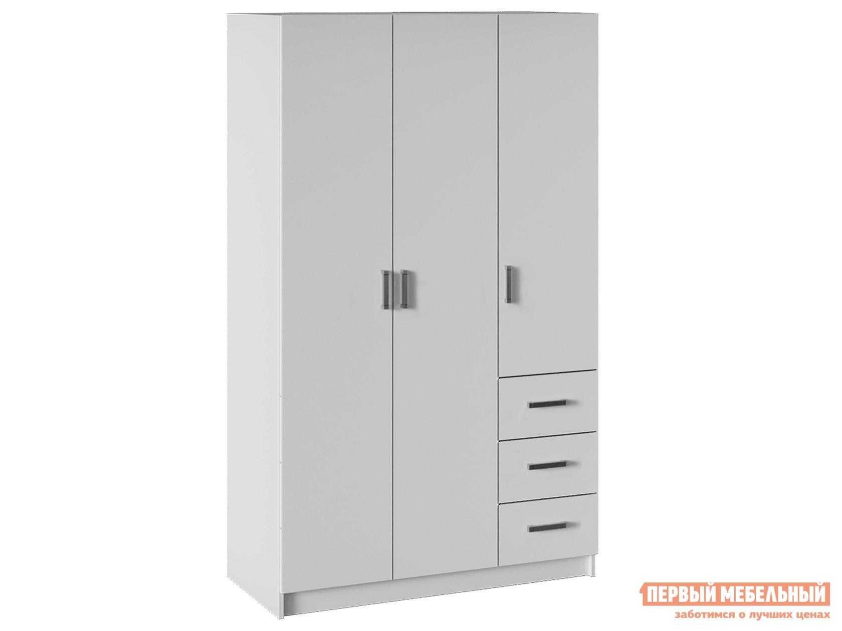 Распашной шкаф  Лофт 3-х дв. с ящиками Белый НКМ 55083