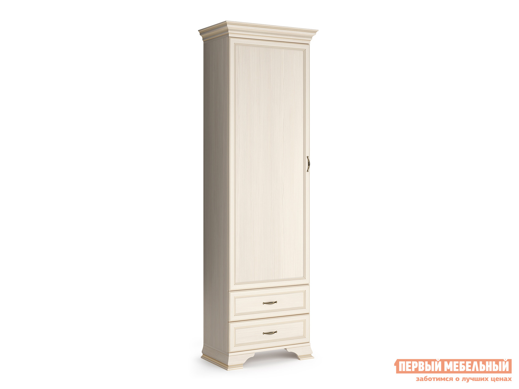 Распашной шкаф  - пенал Сиена Бодега белый, патина золото КУРАЖ 95801