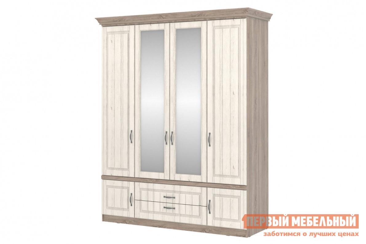 Шкаф распашной Первый Мебельный Шкаф 4-х дверный с зеркалом Прованс