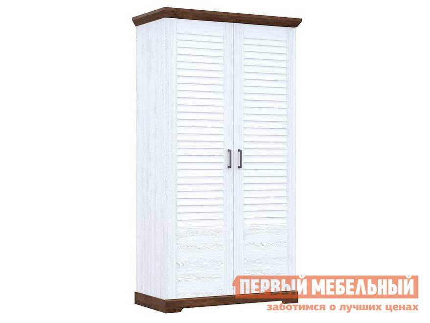 Распашной шкаф  для одежды 2-х дверный Кантри Сосна андресон/ Орех рибек темный СБК 87292