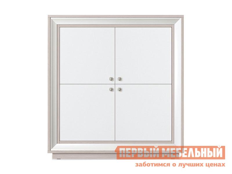 Шкаф 4-х дверный распашной Первый Мебельный Шкаф 4-х дверный низкий Прато шкаф 1 стеклодверь и ящик прато