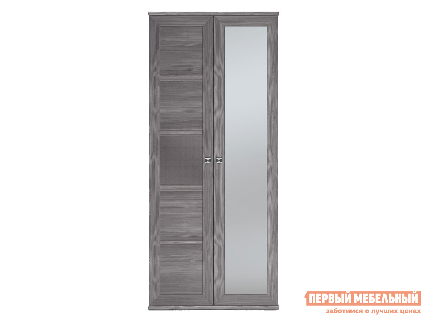 Распашной шкаф  2-х дверный Парма НЕО Лиственница темная / Экокожа дила, С одним зеркалом КУРАЖ 101092