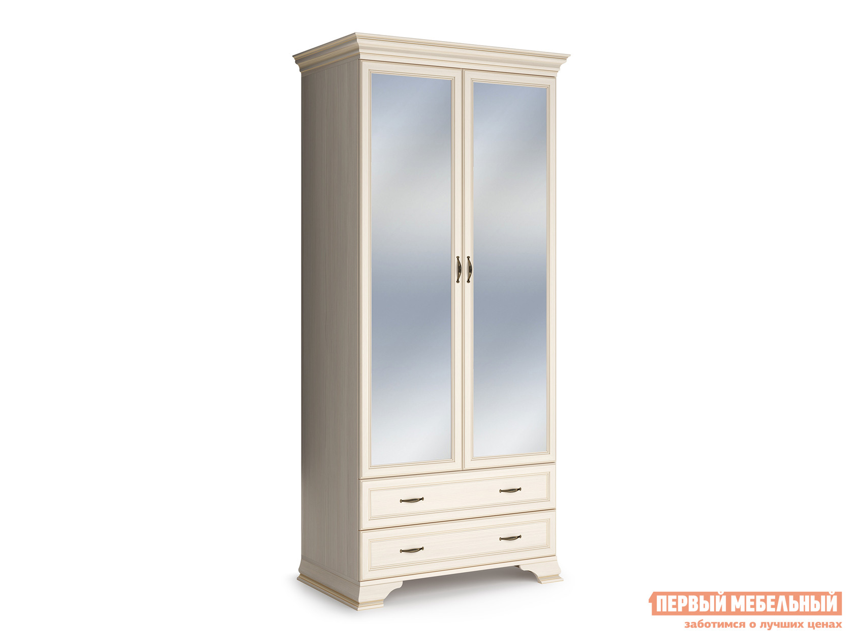 Распашной шкаф  2-х дверный Сиена Бодега белый, патина золото, С двумя зеркалами КУРАЖ 86326