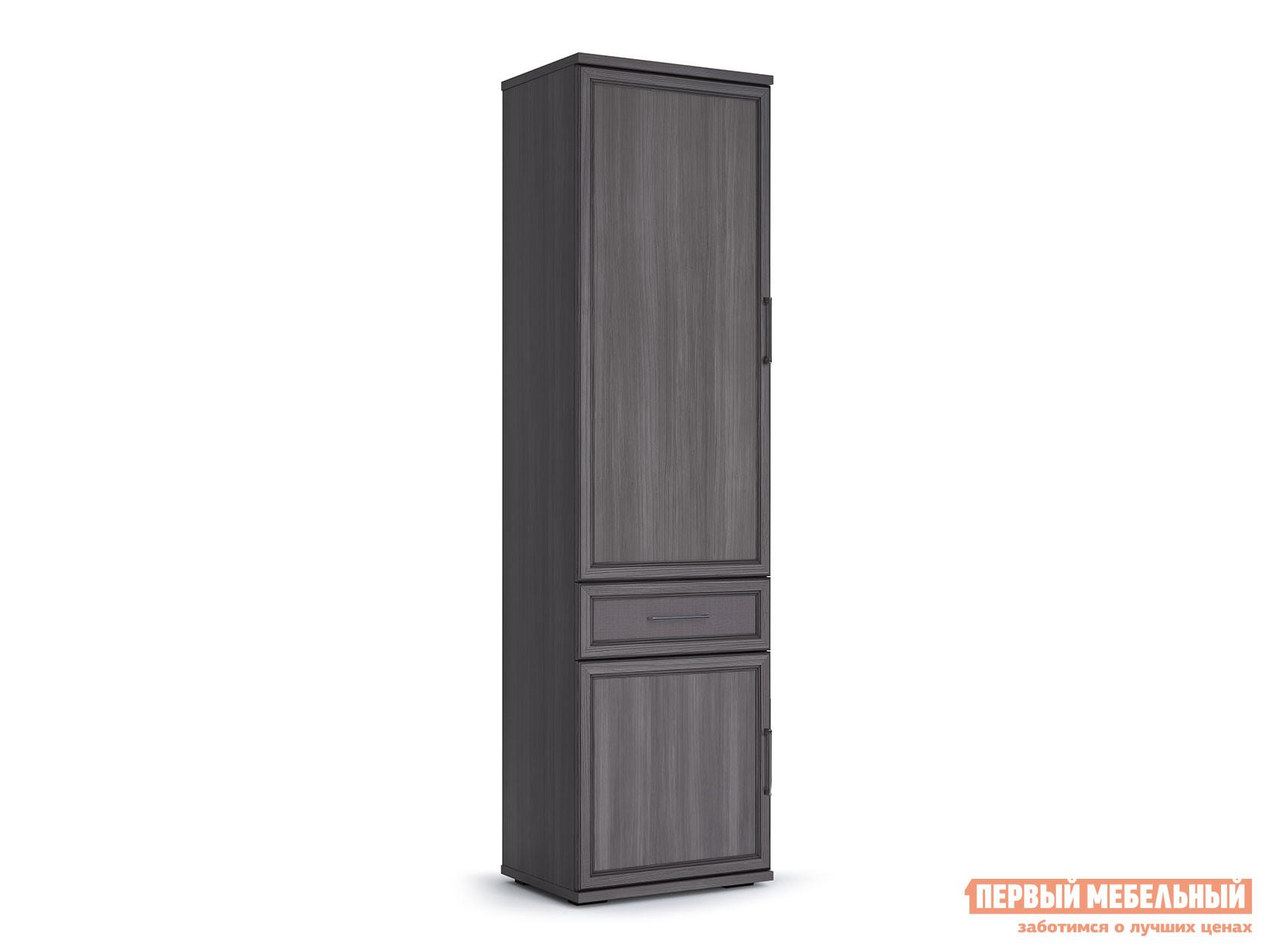 Распашной шкаф  600 Палермо Лиственница темная / Экокожа дила КУРАЖ 106871