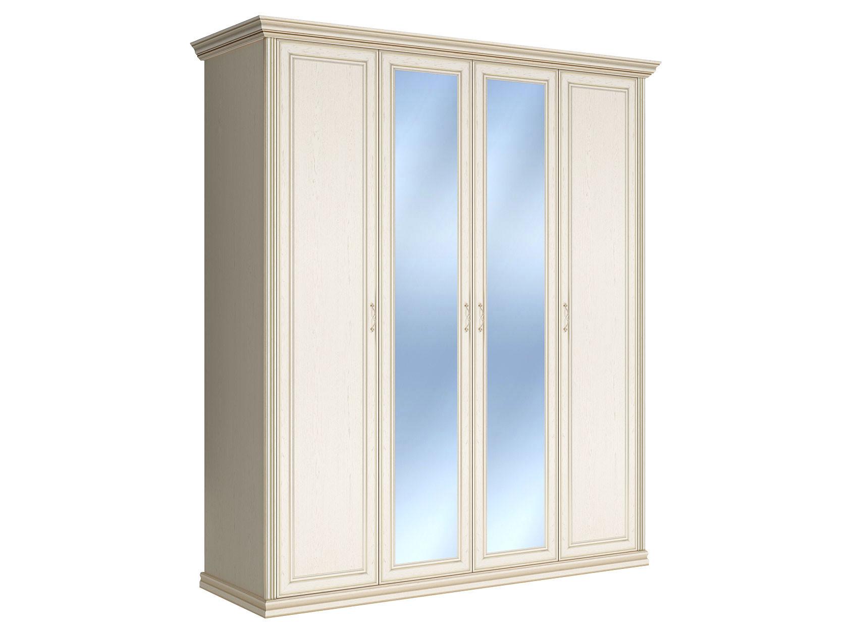 Шкаф распашной четырехстворчатый Первый Мебельный Шкаф 4-х дверный с зеркалом Венето недорого