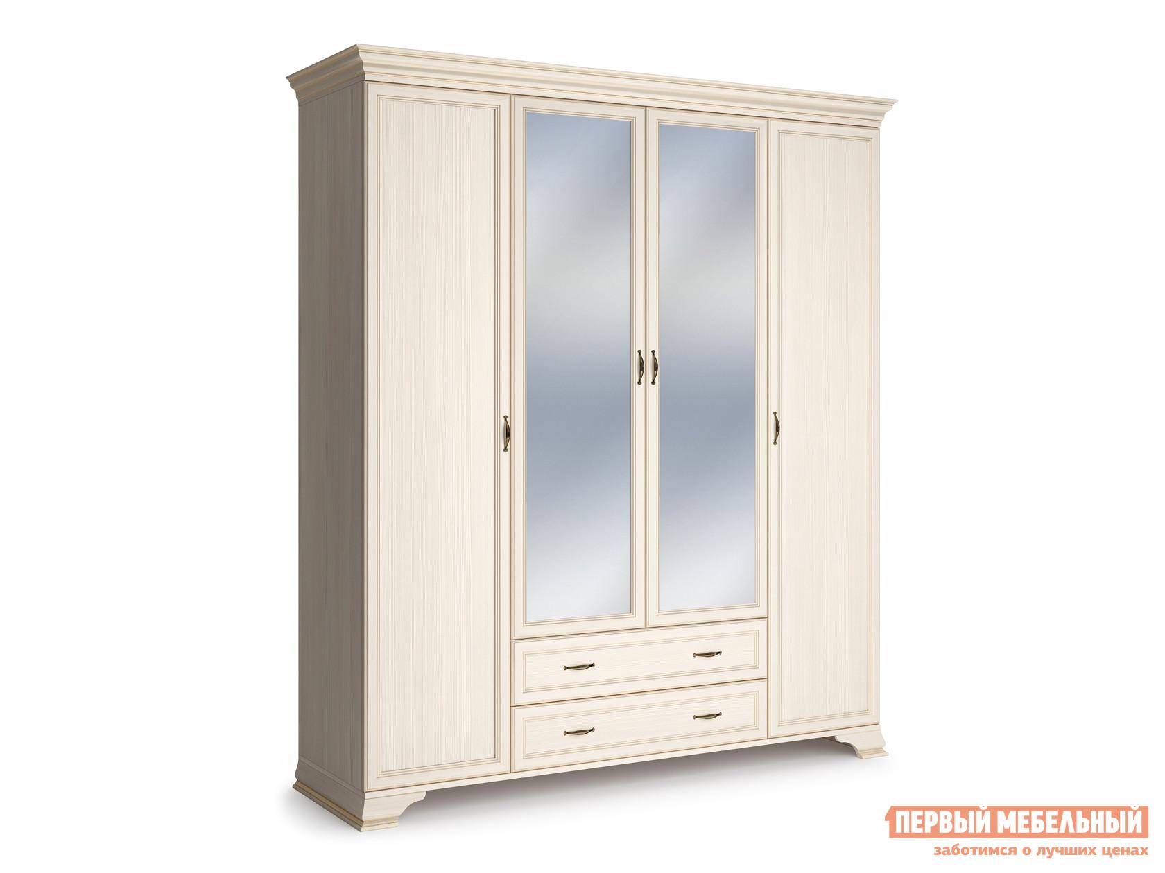 Распашной шкаф  4-х дверный Сиена Бодега белый, патина золото, С двумя зеркалами КУРАЖ 86323