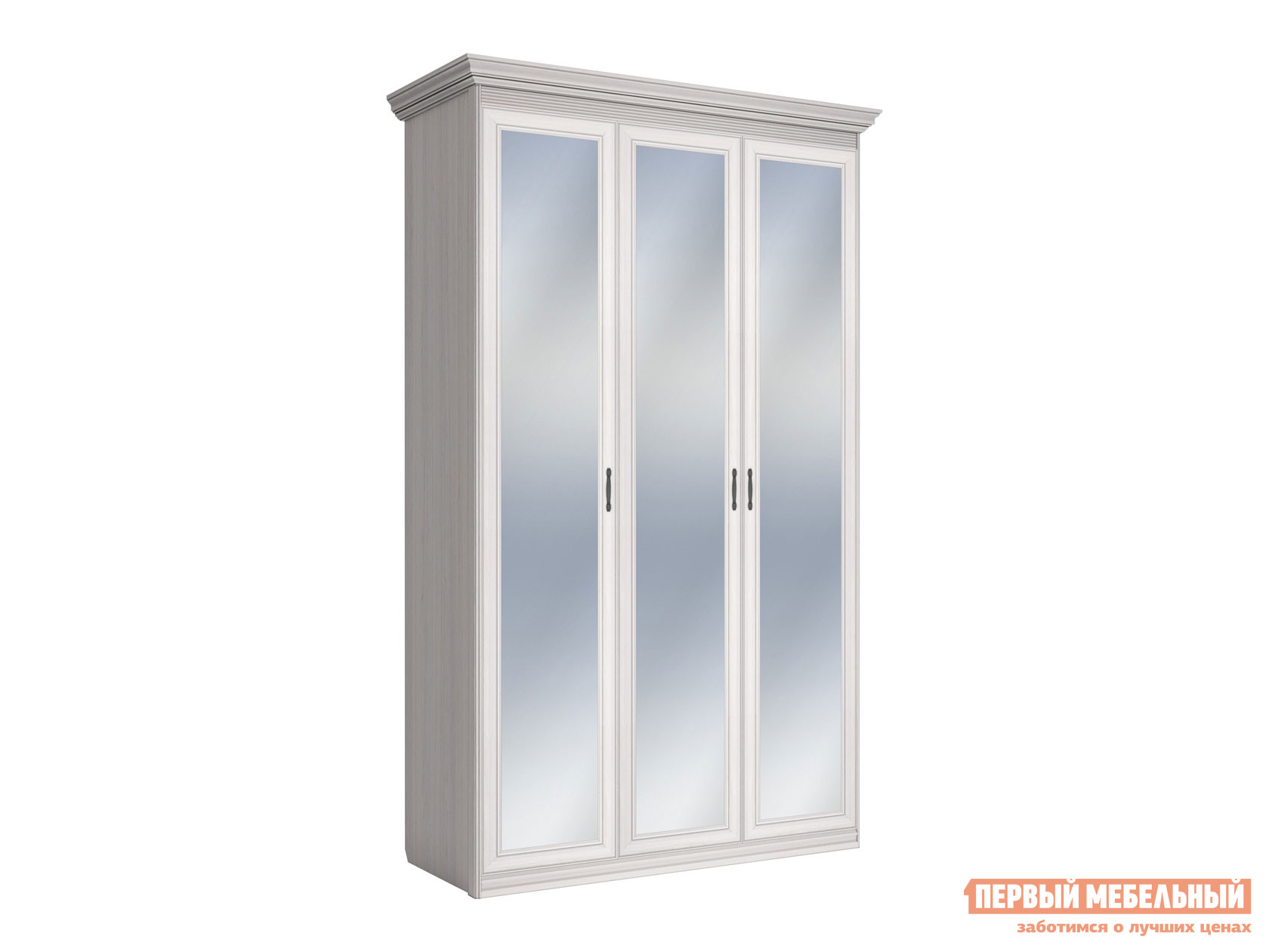 Распашной шкаф  3-х дверный Неаполь Ясень Анкор светлый / Патина серебро, С тремя зеркалами КУРАЖ 114672