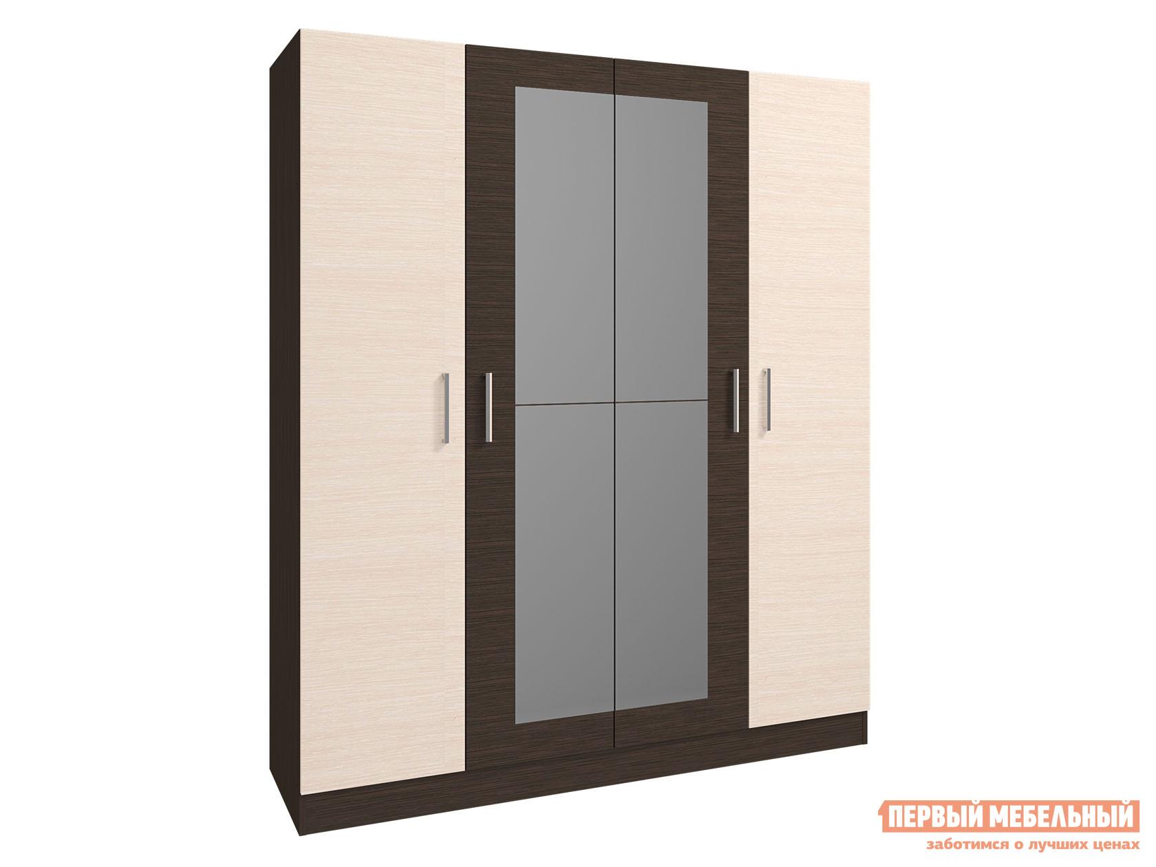 Распашной шкаф  4-х дверный Леси Венге / Дуб, С зеркалом Горизонт 117877