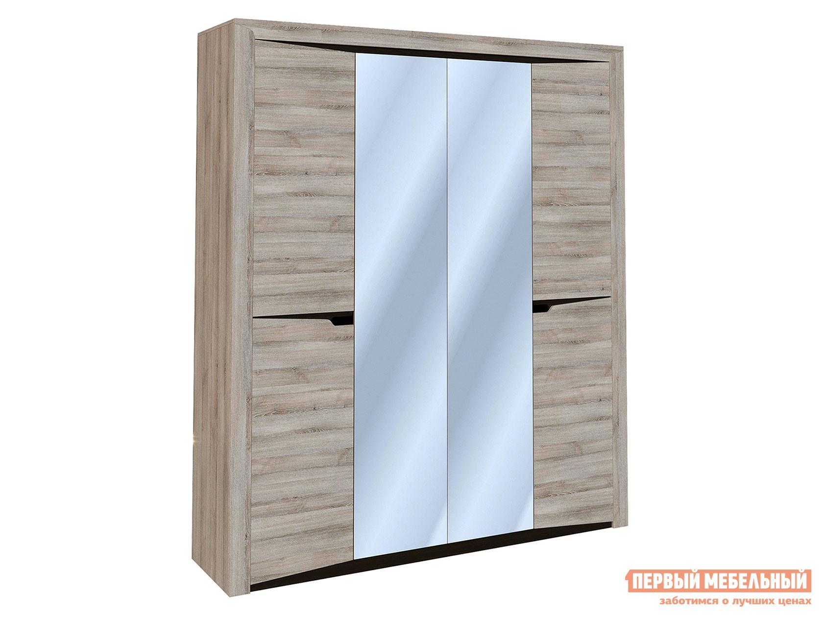 Шкаф распашной Гарда 4-х дверный с зеркалом Ясень Таормино, Без полок фото