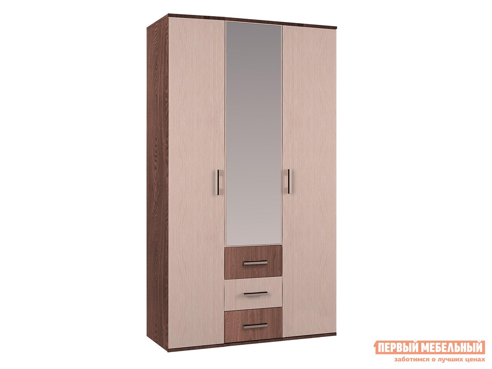 Шкаф распашной  Шкаф 3-х створчатый с зеркалом Белла Ясень шимо / Дуб 1