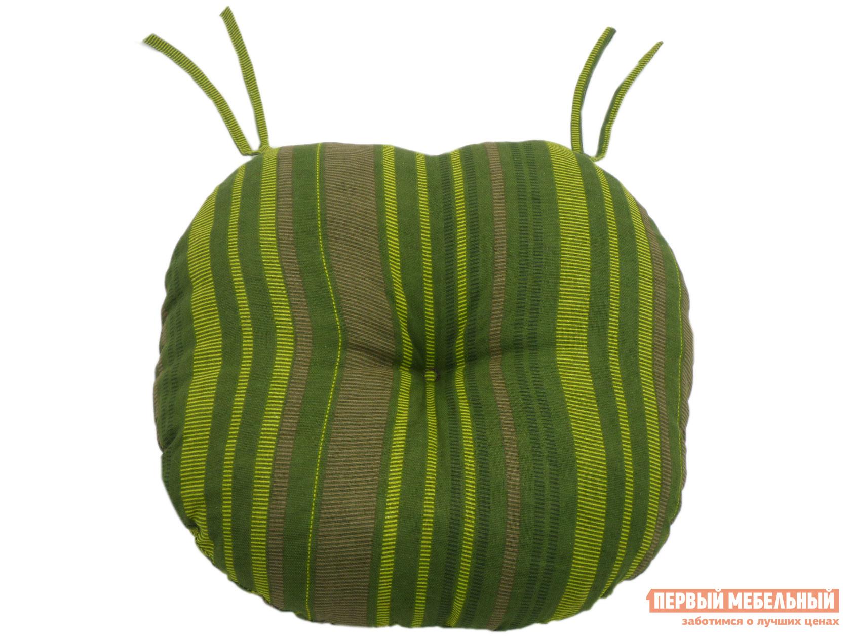 Подушка-сидушка Первый Мебельный Подушка-сидушка хлопок набивной круглая с завязками с имитацией пуговиц / Сидушка круглая D=40 с имит.пуговиц, хлопок