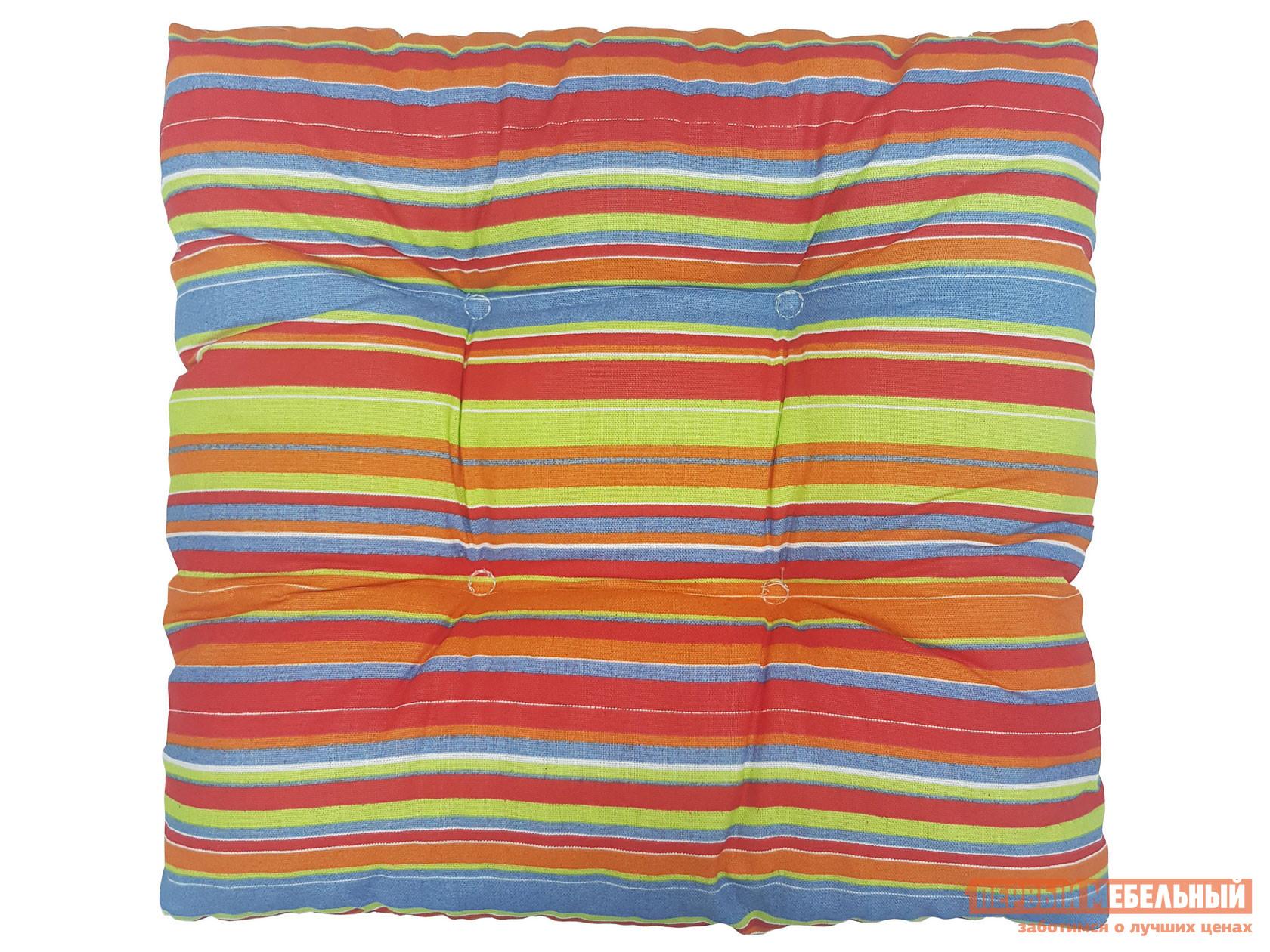 Матрас для шезлонга  Подушка хлопок набивной с имитацией пуговиц 2641, оранжевая полоса