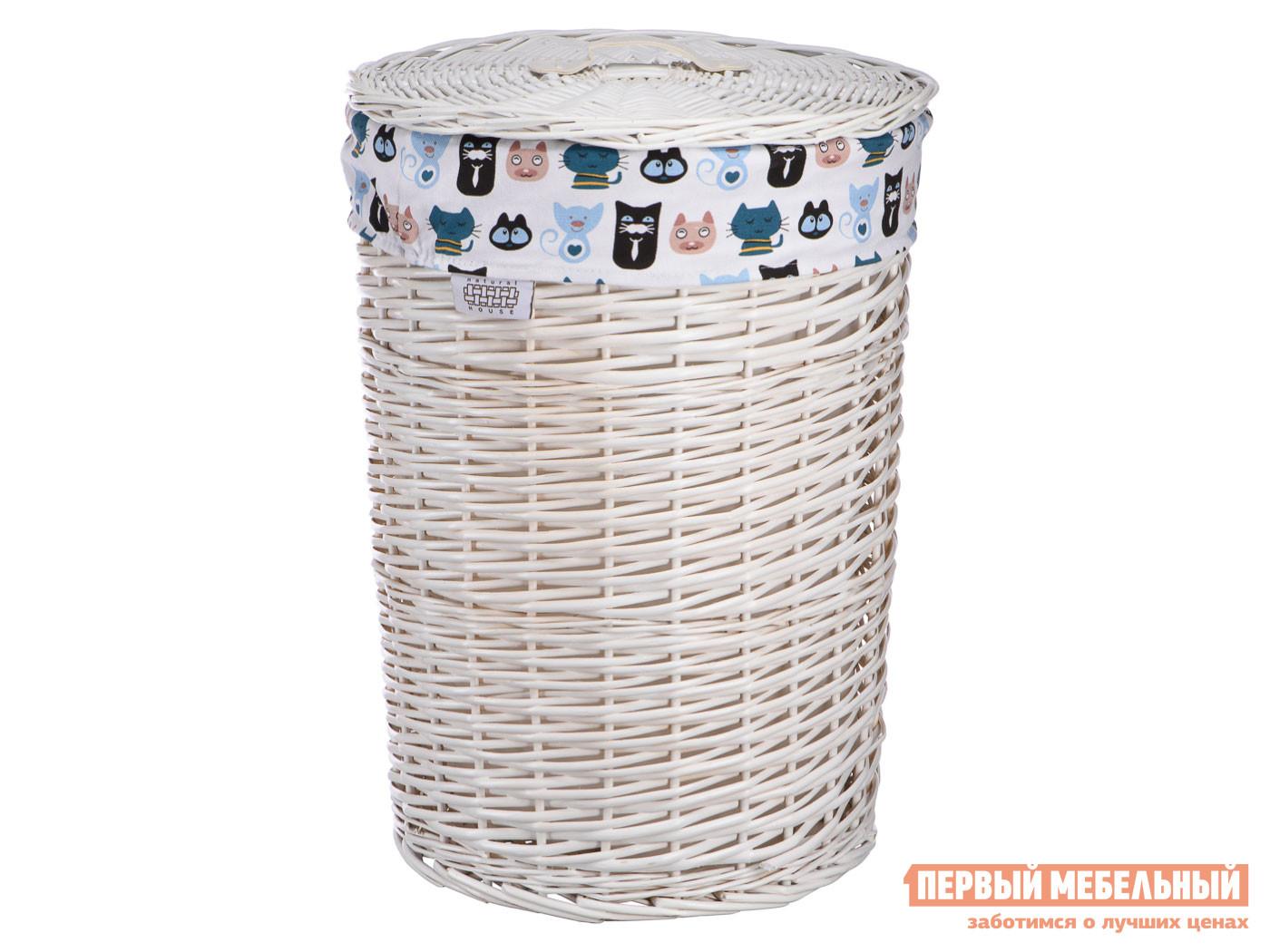 Корзина для хранения  Котики Белый, ивовая лоза / Котики, ткань Магамакс 133140