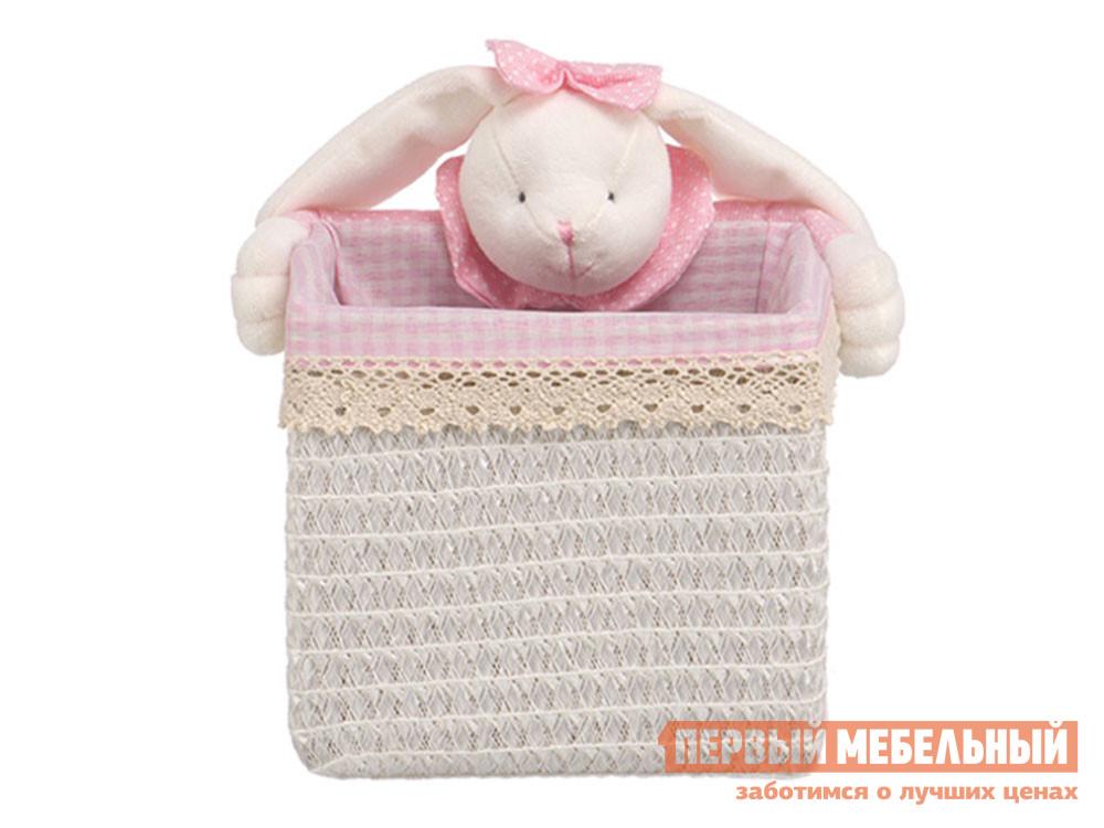 Корзина для хранения  Зайчик Белый, полипропилен / Розовый, ткань, S Магамакс 132754