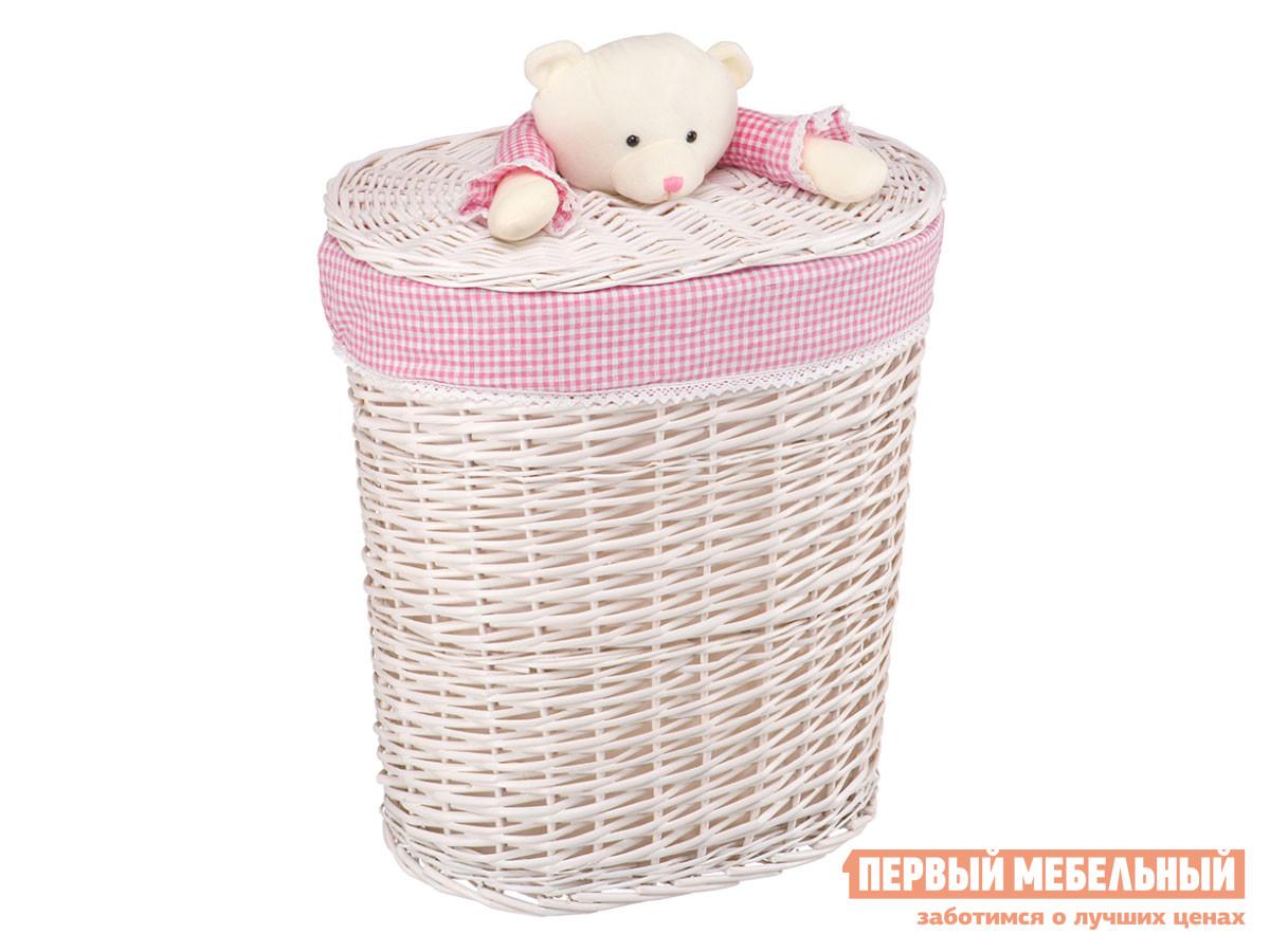 Корзина для хранения  Медвежонок Белый, ивовая лоза / Бежево-розовый, ткань, L Магамакс 132733