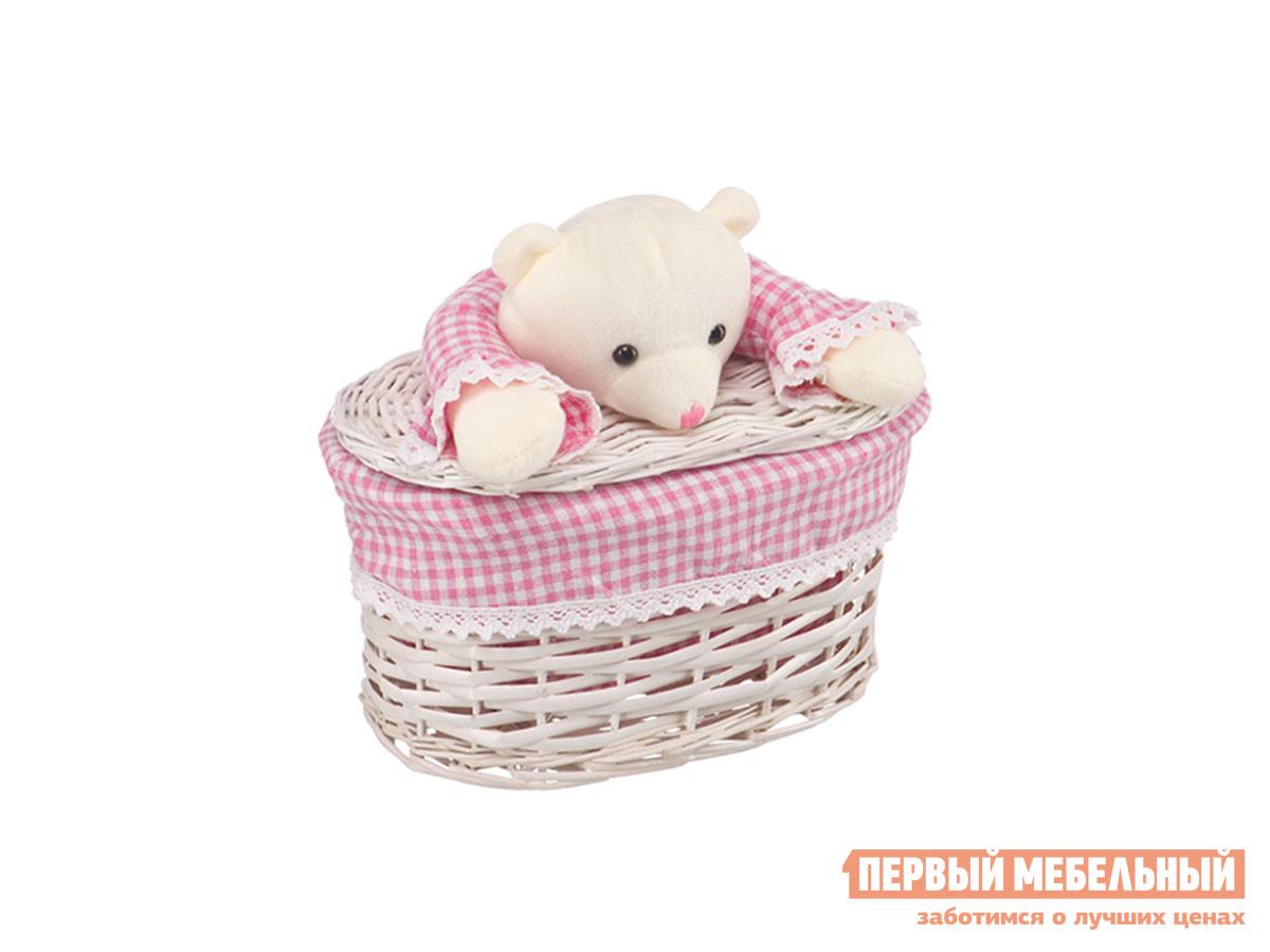 Корзина для хранения  Медвежонок Белый, ивовая лоза / Бежево-розовый, ткань, XS Магамакс 132730