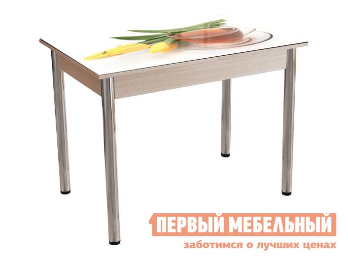 Кухонный стол Стол обеденный Белла Фотопечать Нежность, Дуб молочный/Хром фото