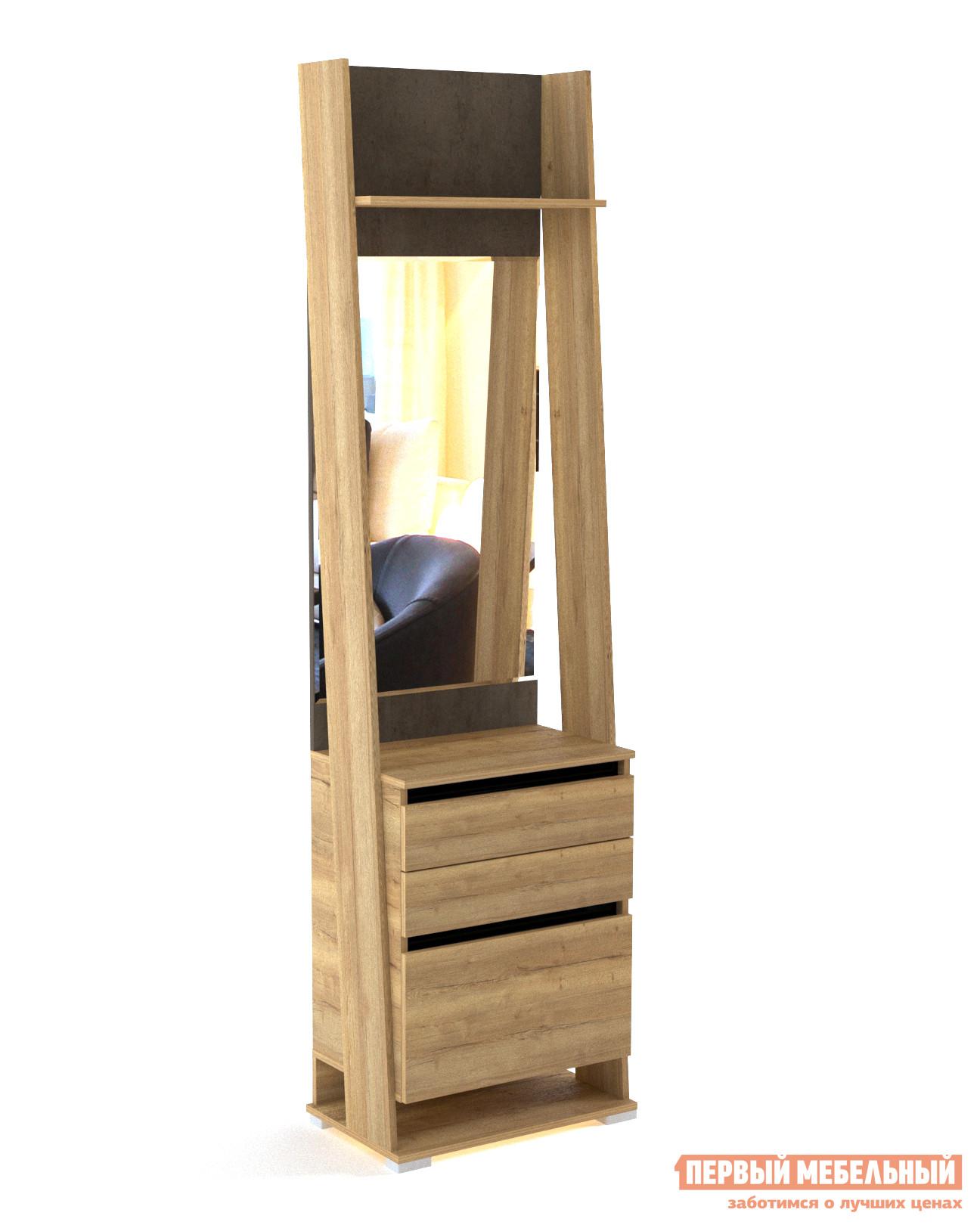 Прихожая  Стреза ПС-3 Шкаф открытый с зеркалом Дуб Галифакс / Бетон Чикаго