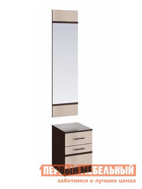 Тумба с зеркалом Первый Мебельный Тумба с зеркалом Сакура, венге/лоредо