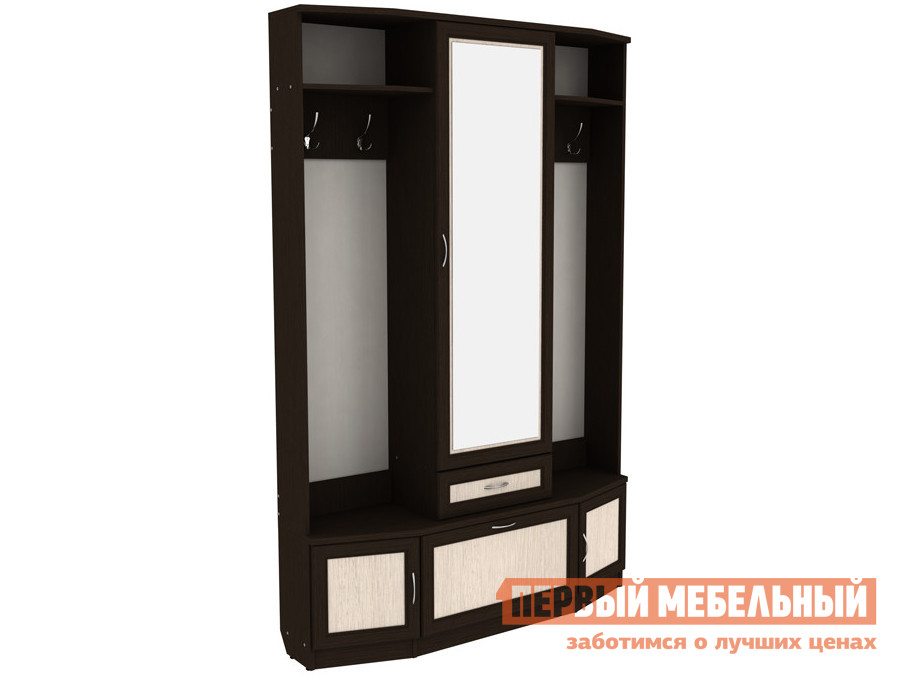Прихожая Прихожая с зеркалом Мерлен 600 Венге / Молочный дуб фото