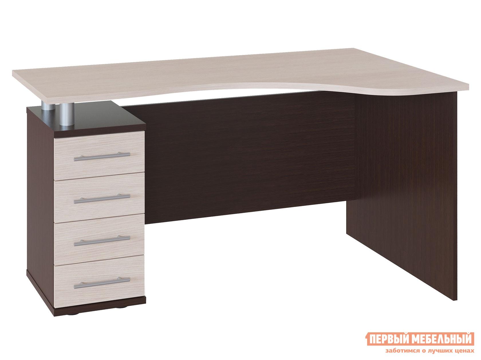 Письменный стол  КСТ-104.1 Корпус Венге / Фасад Беленый дуб, Левый Сокол 23244