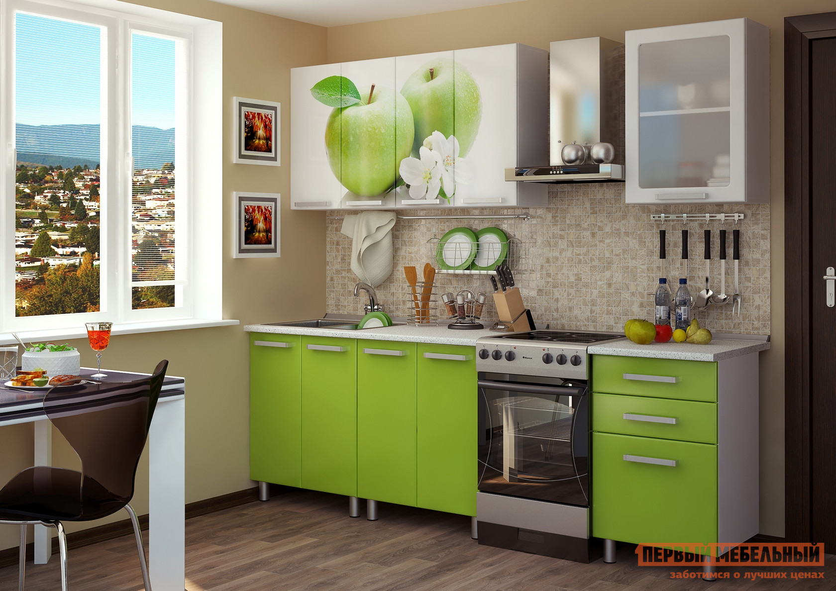 Кухонный гарнитур Первый Мебельный Яблоко МДФ 180 см кухонный гарнитур трия оливия 180 см