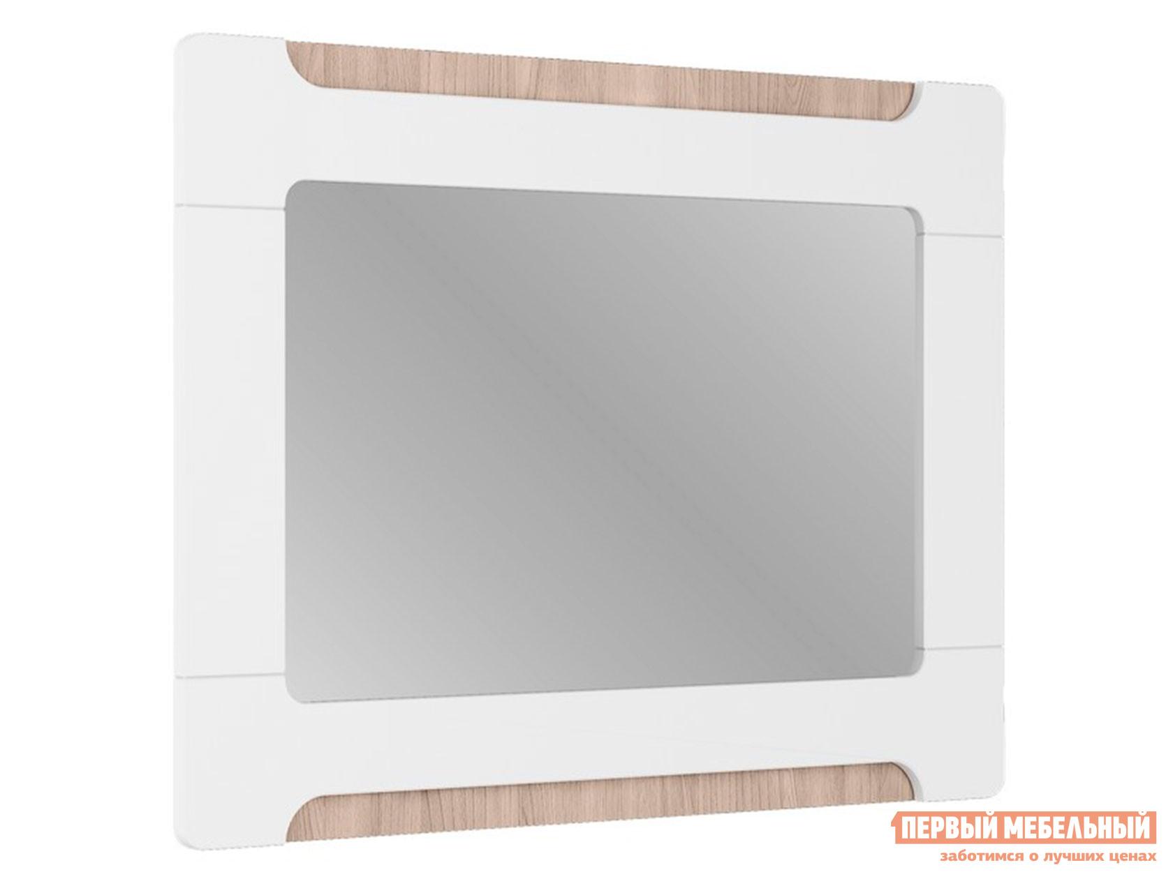 Настенное зеркало  Зеркало Палермо С14 Ясень Шимо Светлый / Белый глянец