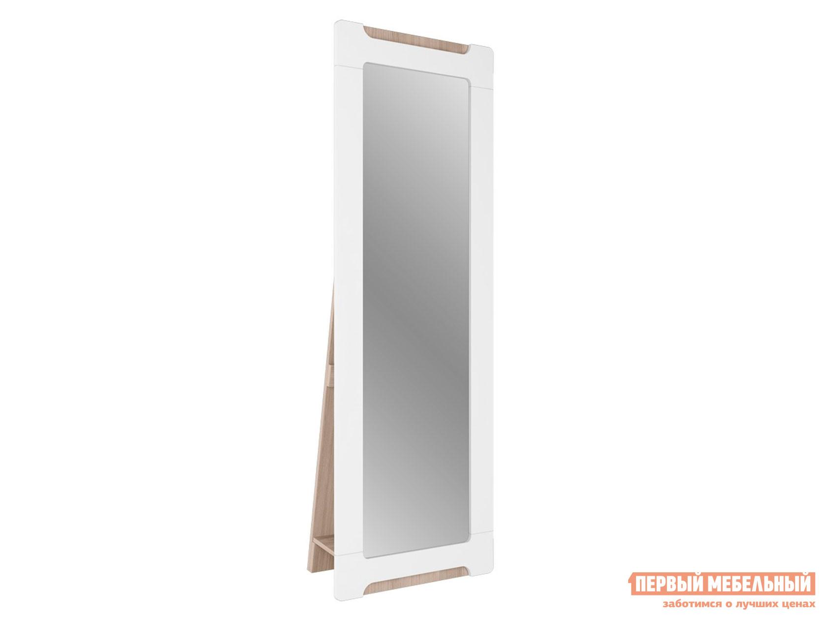 Настенное зеркало  Зеркало Палермо С11 Ясень Шимо Светлый / Белый глянец, С опорой