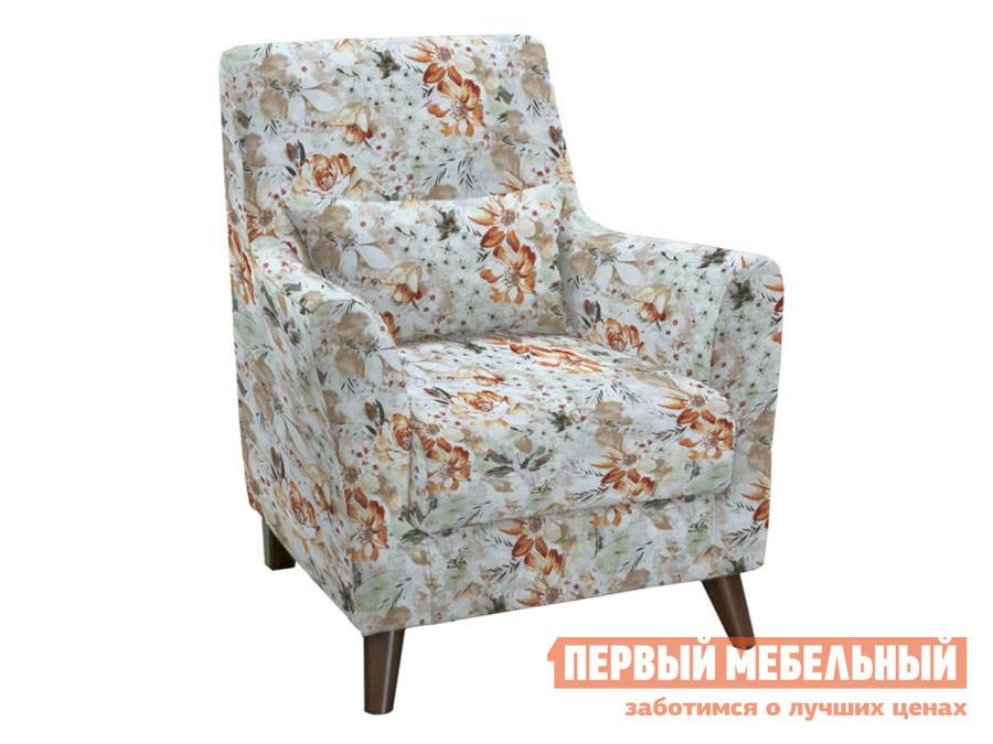 Кресло  Либерти Коричневые цветы 228, велюр