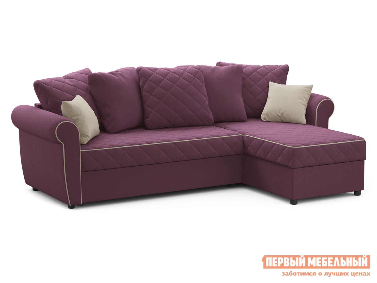 Угловой диван  Догвиль Фиолетовый, велюр, новый Живые диваны 125408