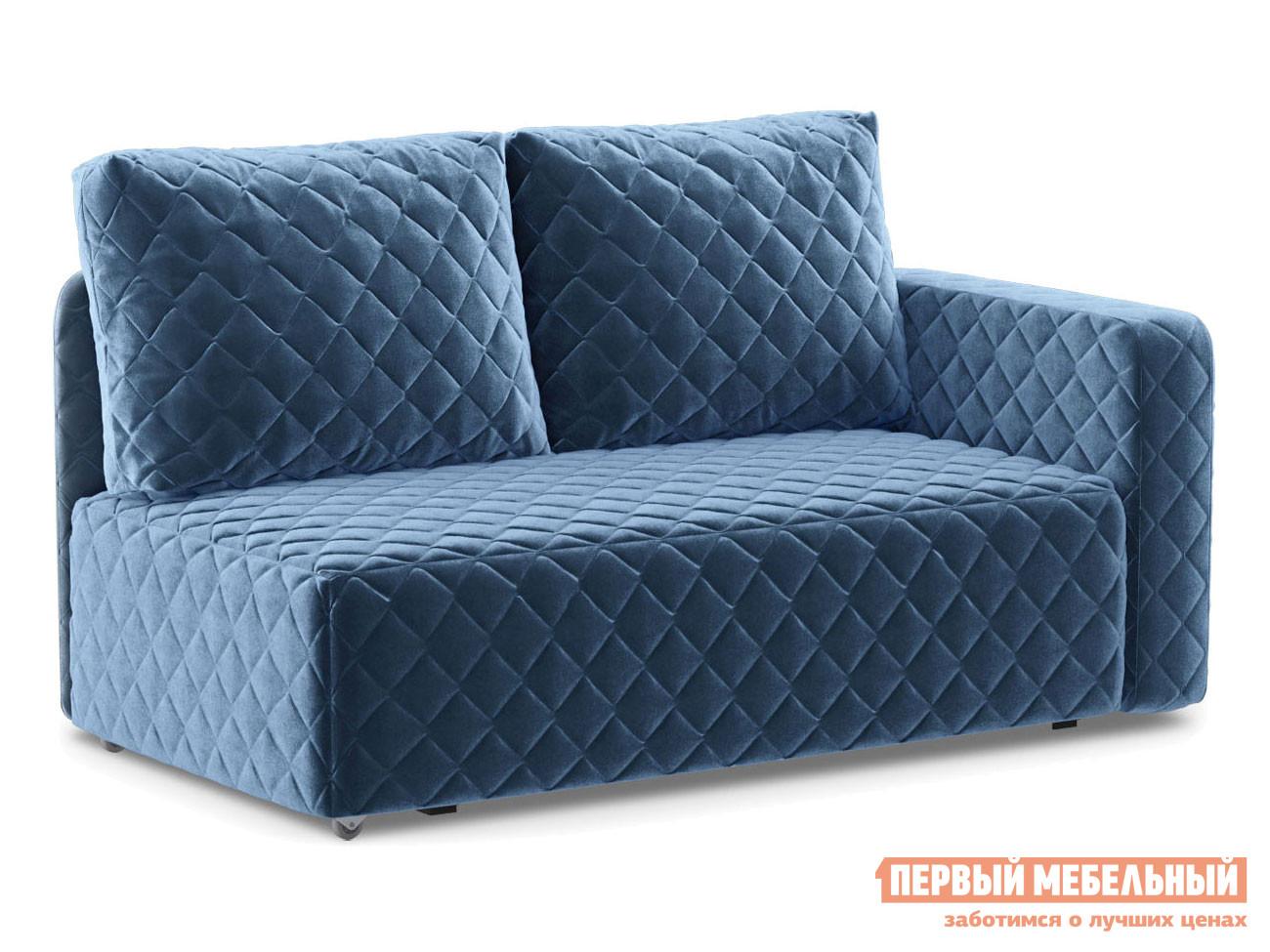 Прямой диван  Мортон Люкс 1 Синий, велюр, Правый Живые диваны 100538