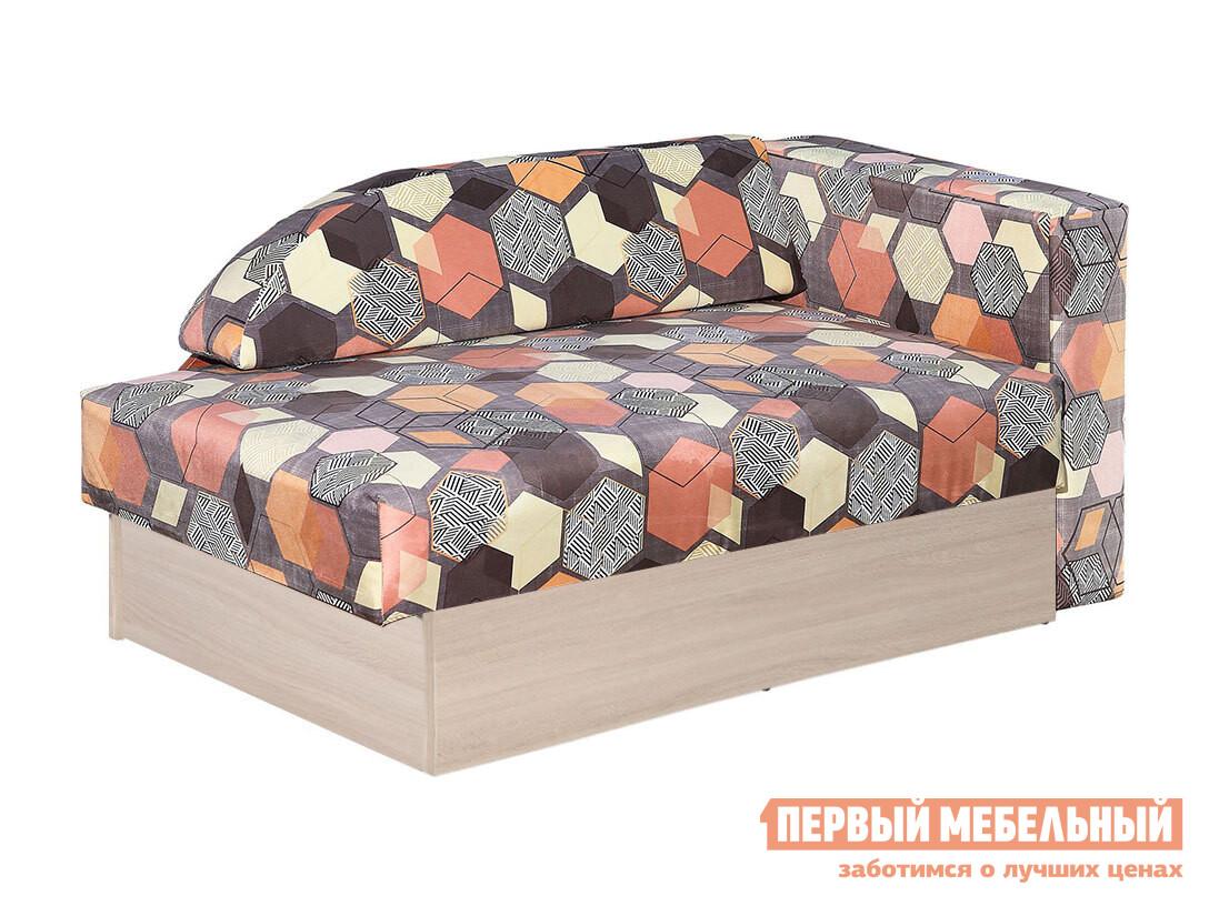 Угловой диван  Диван Доминго Геометрия коричневый, микровелюр, Правый