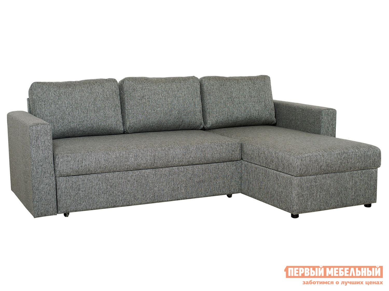 Угловой диван  Фишер Черный меланж, рогожка Пиррогрупп 65233