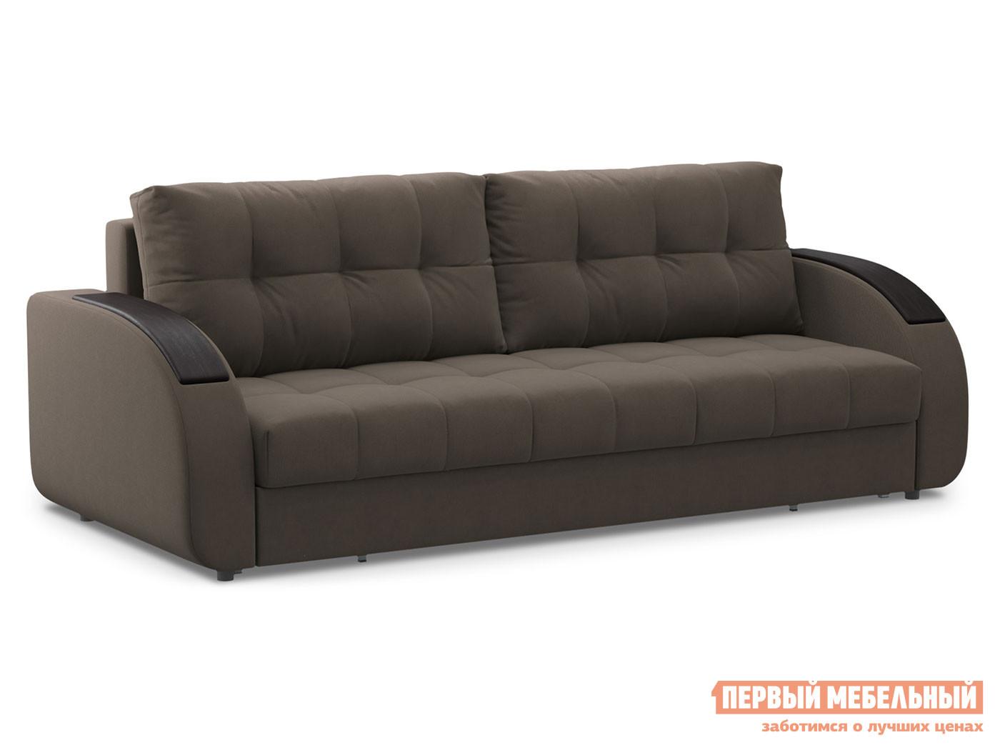 Прямой диван  Долар / Люкс Коричневый, велюр, Независимый пружинный блок Живые диваны 117779