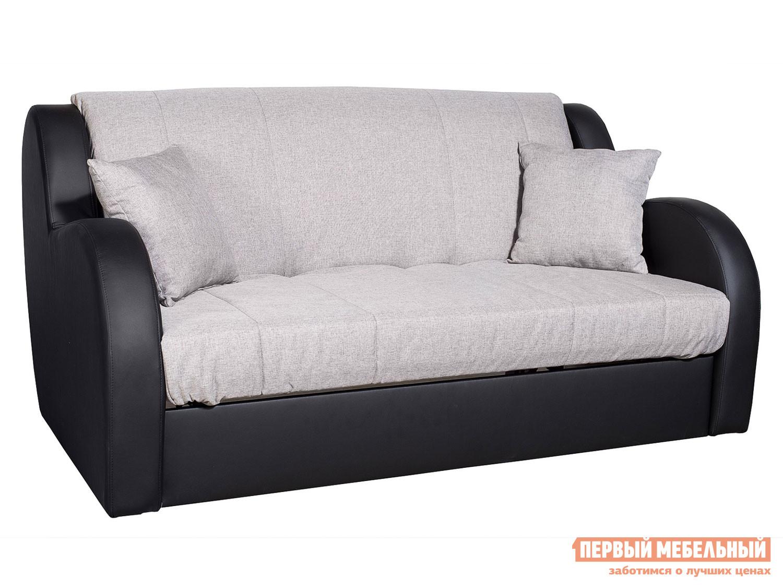 Прямой диван  Диван Маэстро Серый, рогожка / Черная экокожа, 140х200 см