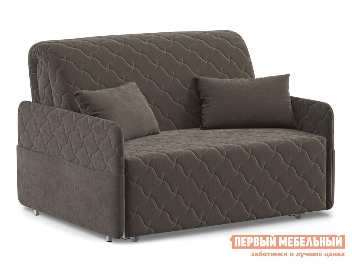 Прямой диван  Тино / Люкс Коричневый, велюр, 120х200 см, Независимый пружинный блок Живые диваны 118108