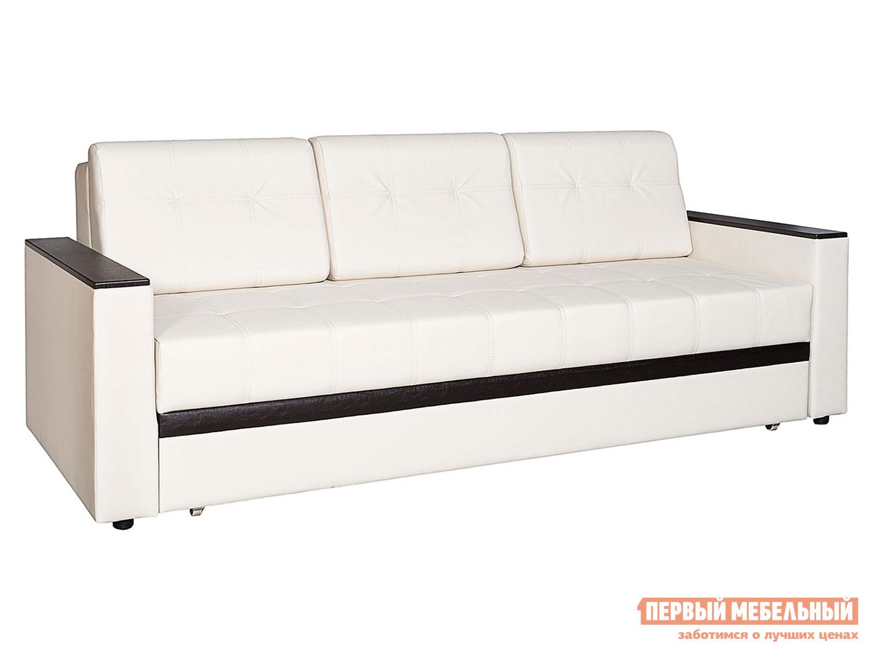 Прямой диван  Атланта Молочный, экокожа / Вставка Mercury Dark Brown 524, иск. кожа
